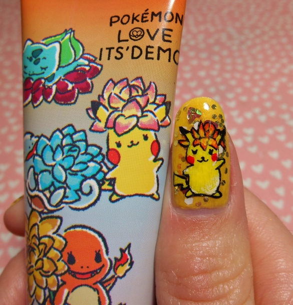 Its demo hand cream pikachu nail art.JPG