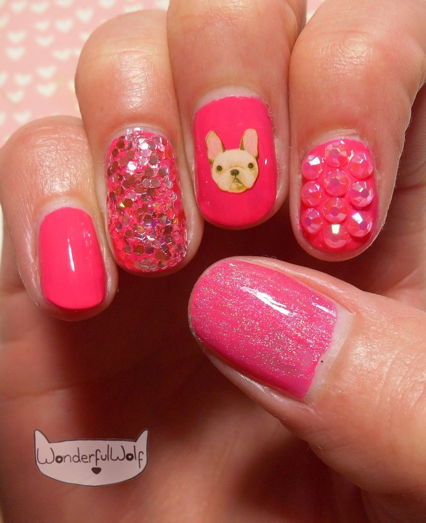 Pink French Bulldog Water Decals