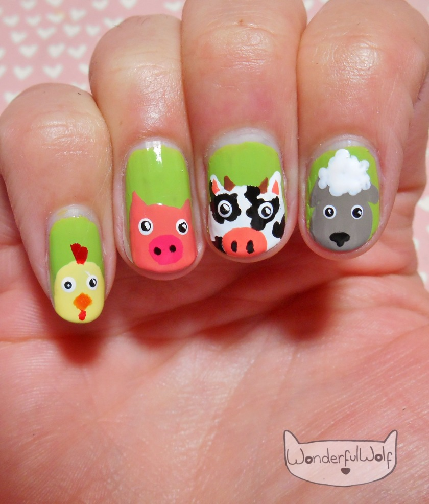 Farm Animal Nail Art