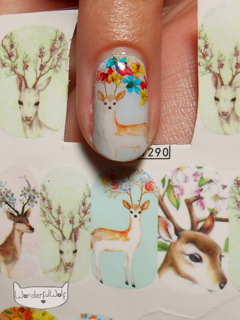 Floral Deer Water Decals close up