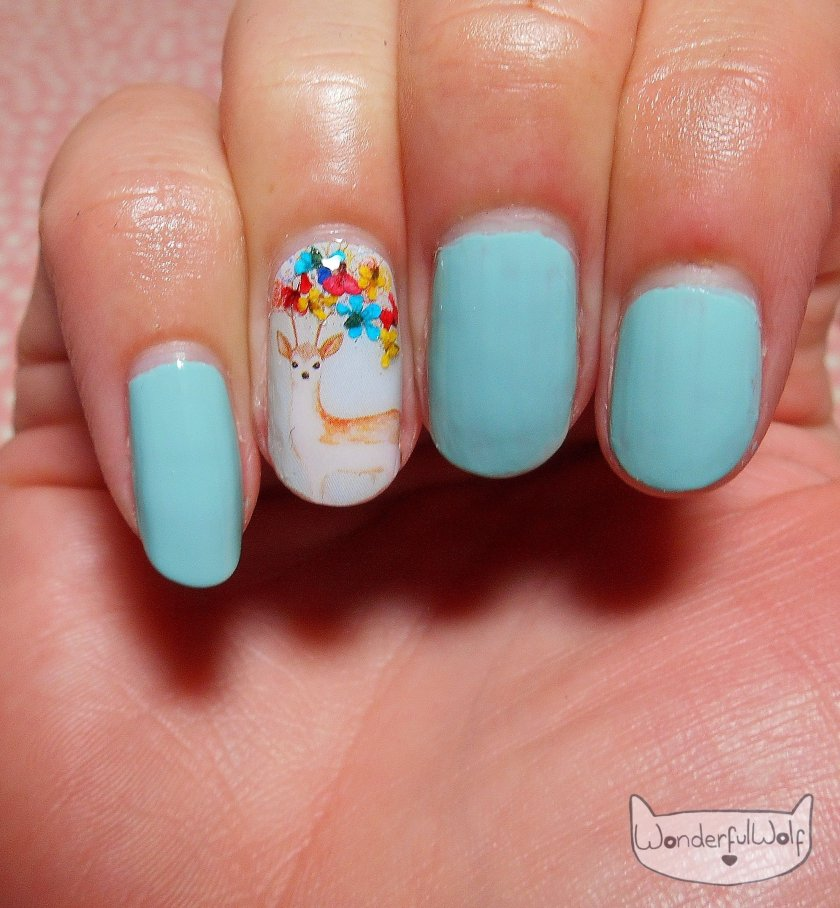 Floral Deer Water Decals nail art