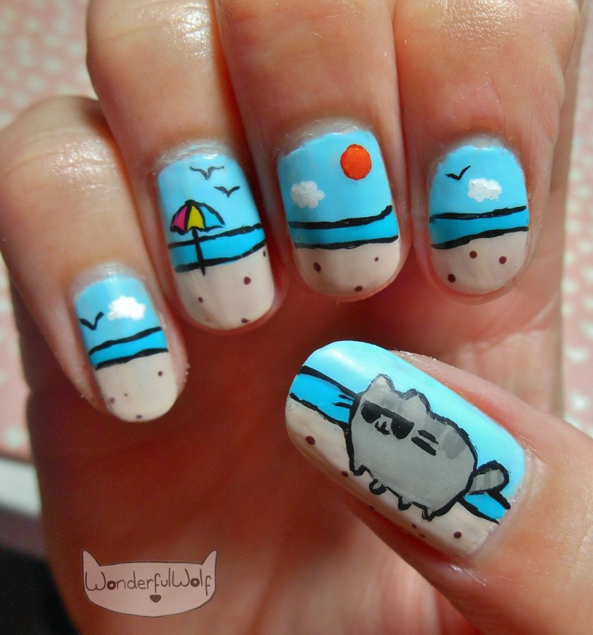 Pusheen on Beach Nail Art.jpg