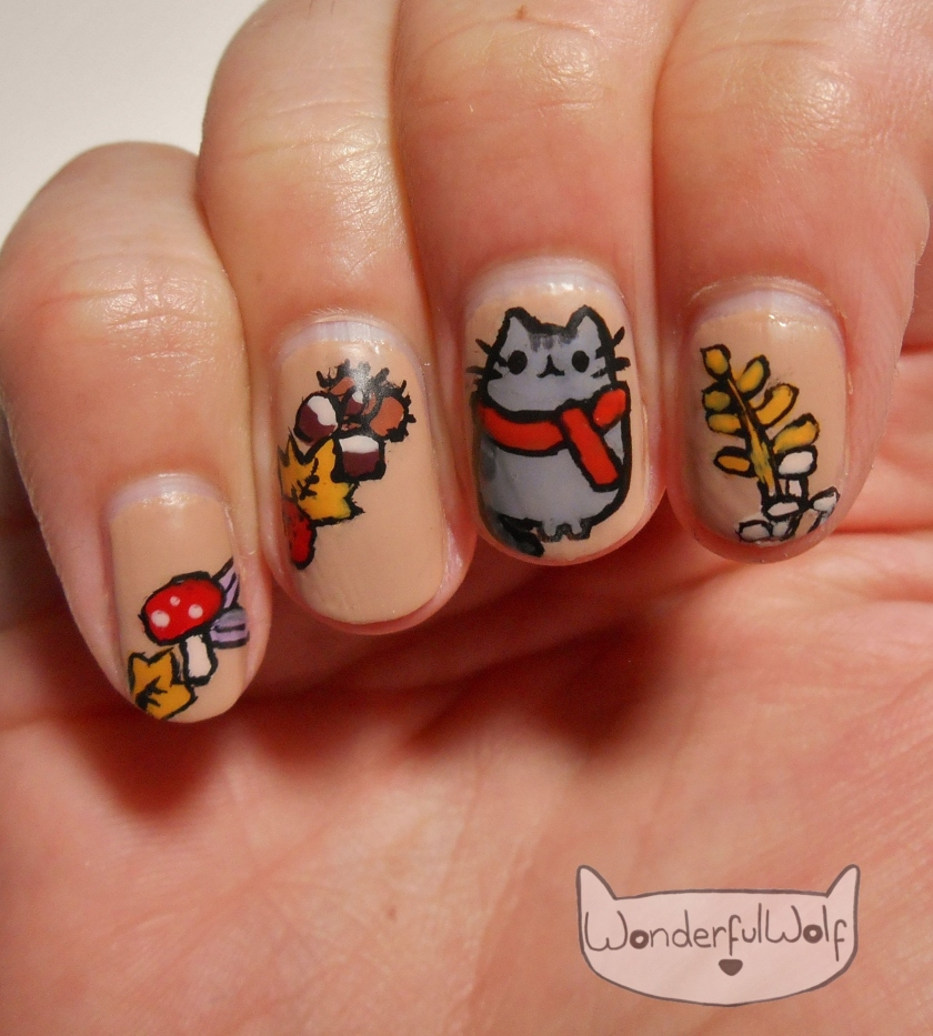 Autumnal Fall Pusheen Nail Art.jpg