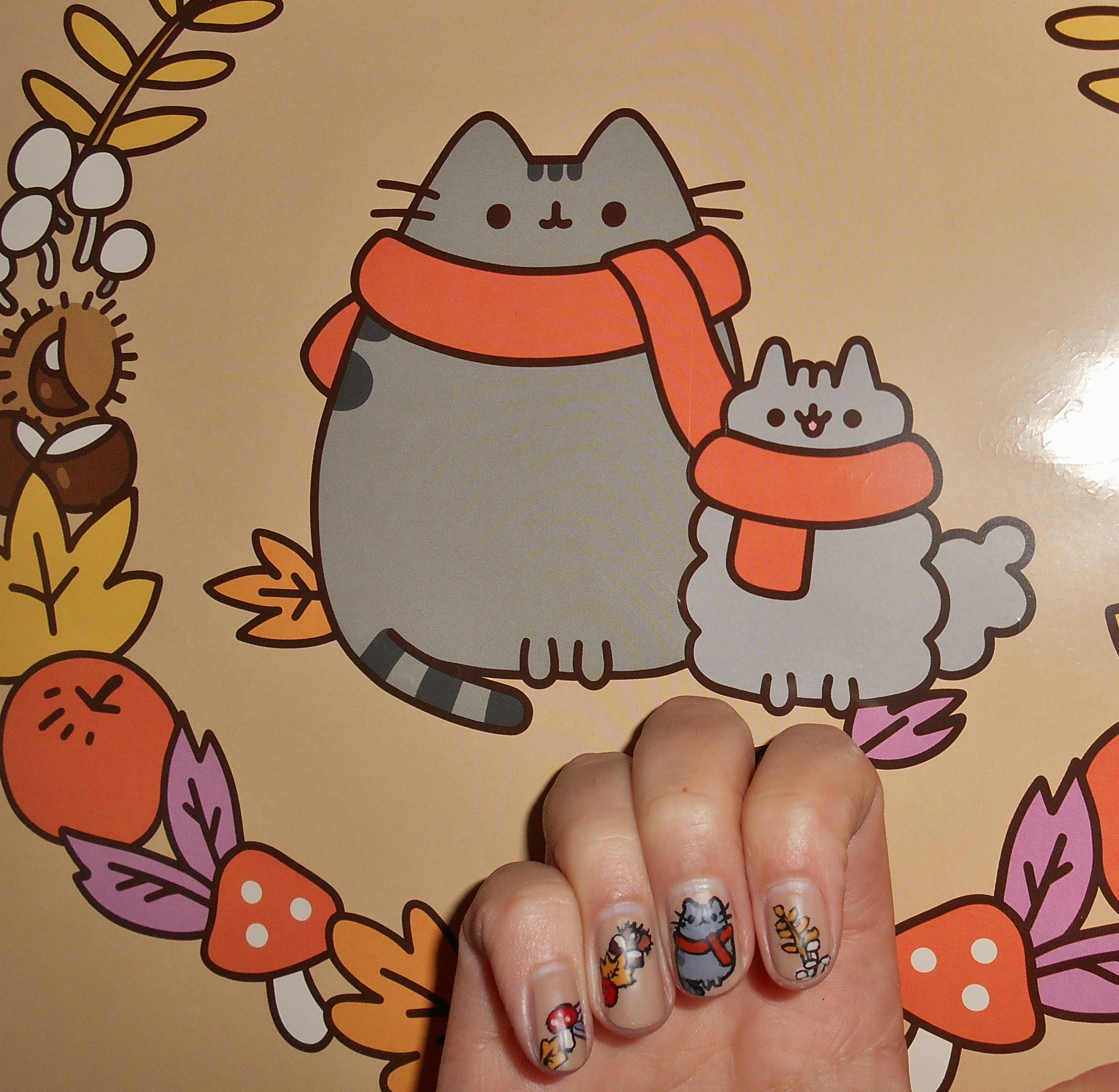 Autumnal Pusheen Nail Art Inspo.JPG